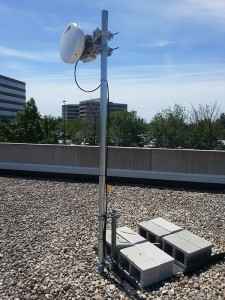 E-vergent fixed wireless equipment on top of a roof